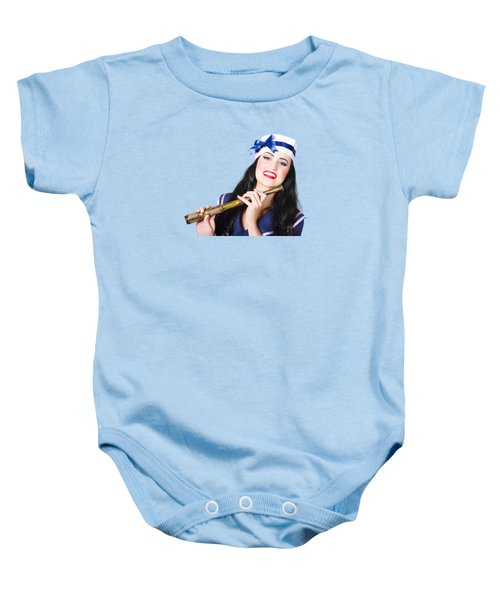 Baby Onesie featuring the photograph Pinup Sailor Girl Holding Telescope by Jorgo Photography - Wall Art Gallery