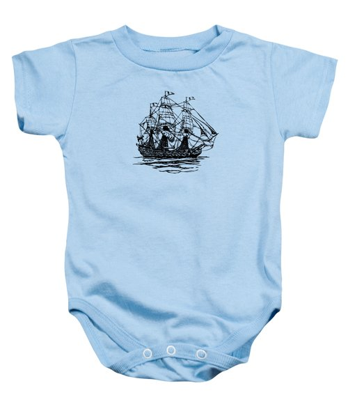 Pirate Ship Artwork - Vintage Baby Onesie