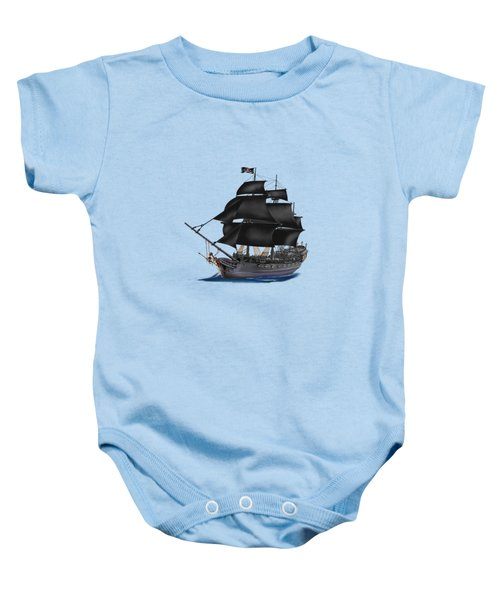 Pirate Ship At Sunset Baby Onesie by Glenn Holbrook