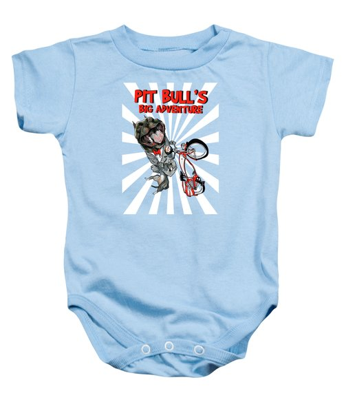 Pit Bull's Big Adventure Caricature Baby Onesie