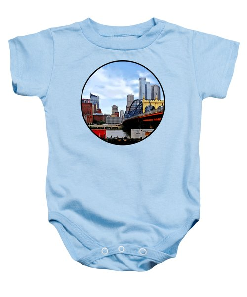 Pittsburgh Pa - Train By Smithfield St Bridge Baby Onesie by Susan Savad