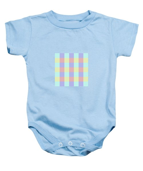 Plaid Blue Soft Yellow Rose Blush Lavender Cyan Tetradic Colour Blocks Baby Onesie