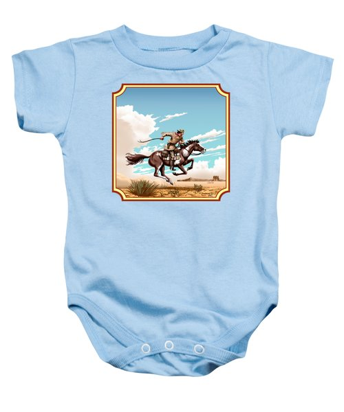 Pony Express Rider - Western Americana - Square Format Baby Onesie by Walt Curlee