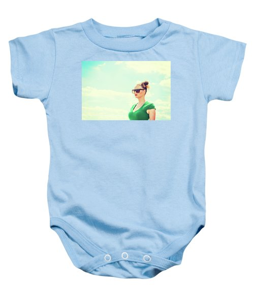 Portrait Of Young Woman Baby Onesie