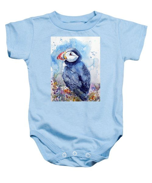 Puffin With Flowers Baby Onesie