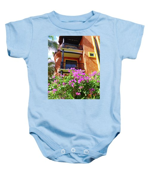 Baby Onesie featuring the photograph Purple Flowers By The Balcony by Francesca Mackenney