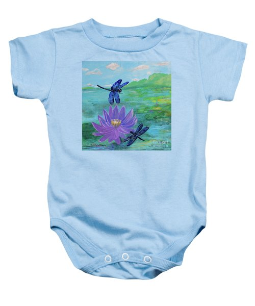 Purple Water Lily And Dragonflies Baby Onesie