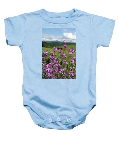 Purple Wild Flowers On Field Baby Onesie