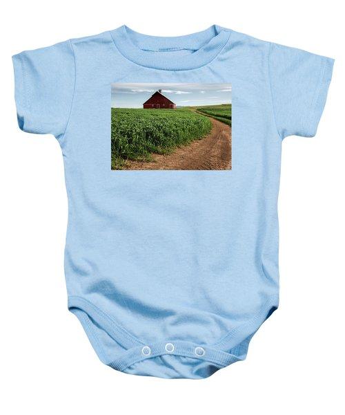 Red Barn In Green Field Baby Onesie