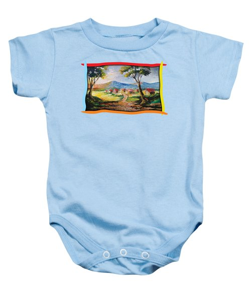 Red Roofs Baby Onesie