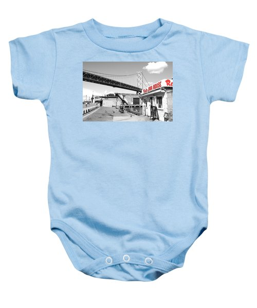 Reds Java House And The Bay Bridge In San Francisco Embarcadero . Black And White And Red Baby Onesie