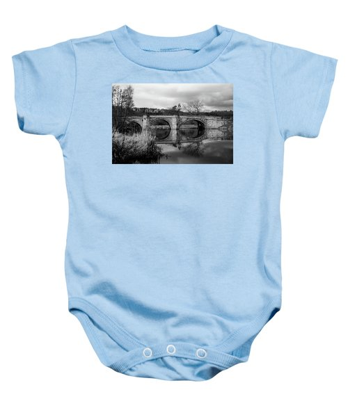 Reflecting Oval Stone Bridge In Blanc And White Baby Onesie