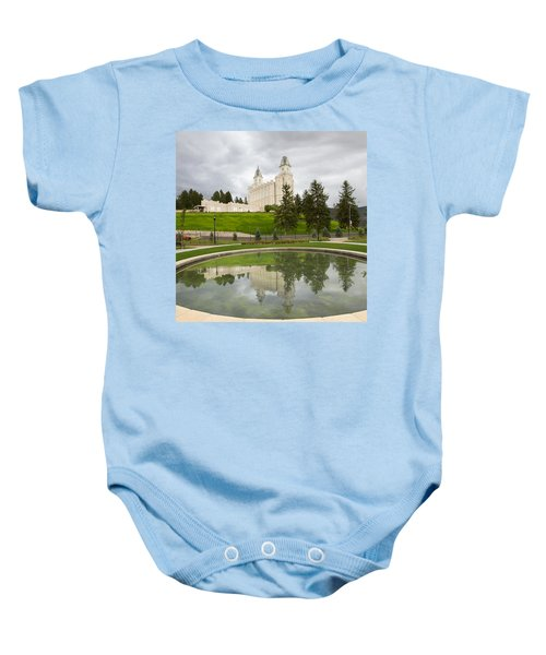 Reflections Of The Manti Temple At Pioneer Heritage Gardens Baby Onesie