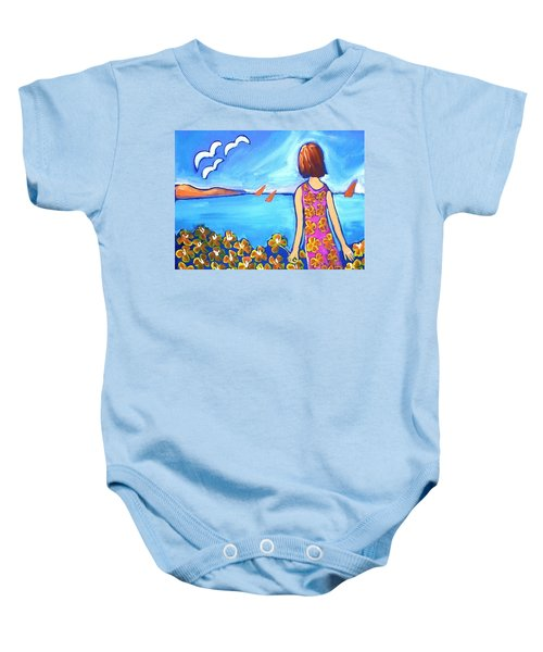 Baby Onesie featuring the painting Remembering Joy by Winsome Gunning