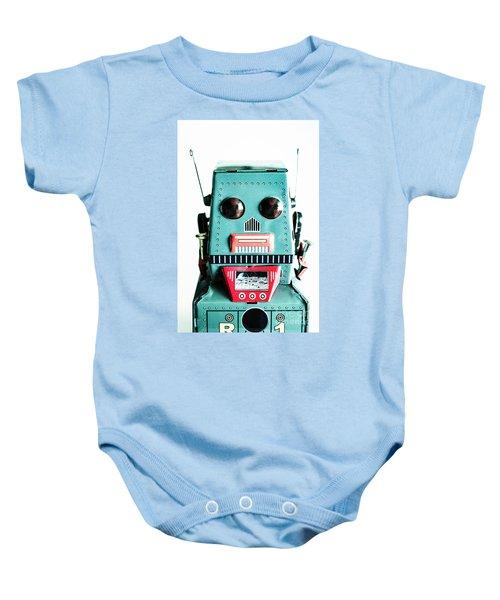 Retro Eighties Blue Robot Baby Onesie