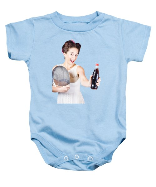 Retro Pin-up Girl Giving Bottle Of Soft Drink Baby Onesie by Jorgo Photography - Wall Art Gallery