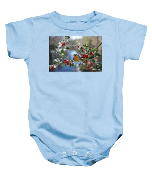 Robin On Holly Branch Baby Onesie