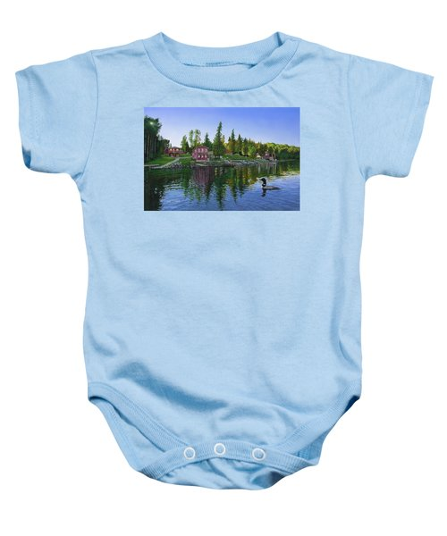 Rocky Shore Lodge Baby Onesie