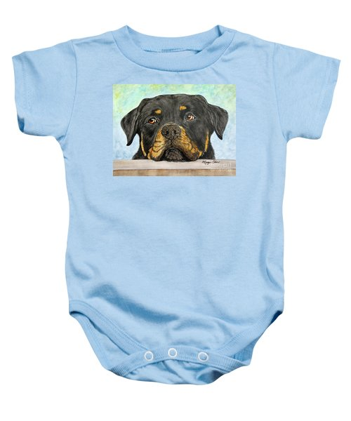 Rottweiler's Sweet Face 2 Baby Onesie by Megan Cohen