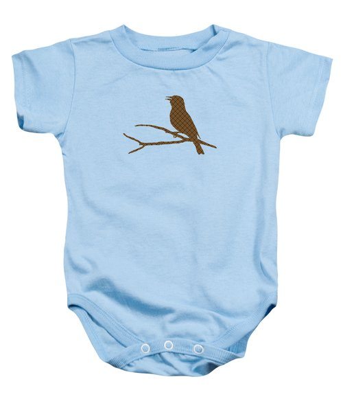 Baby Onesie featuring the mixed media Rustic Brown Bird Silhouette by Christina Rollo