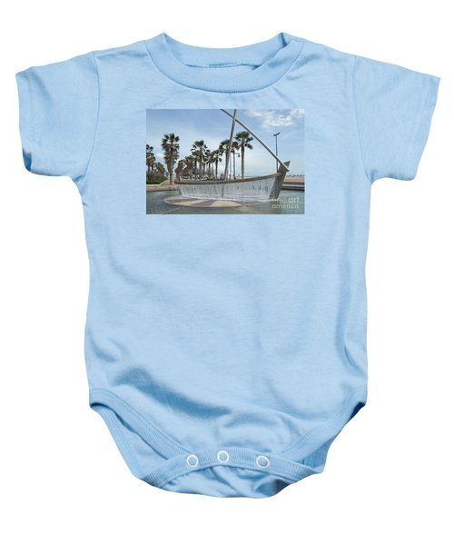 Sail Boat Fountain In Valencia Baby Onesie