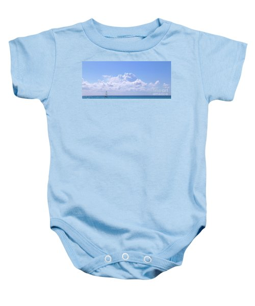 Baby Onesie featuring the photograph Sailboat Sea And Sky M5 by Francesca Mackenney