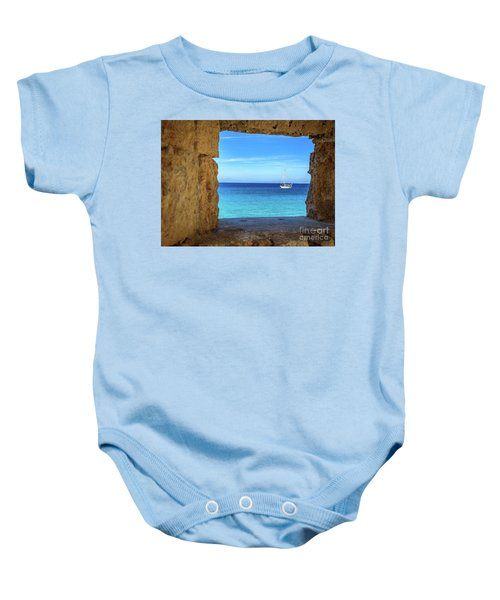 Sailboat Through The Old Stone Walls Of Rhodes, Greece Baby Onesie