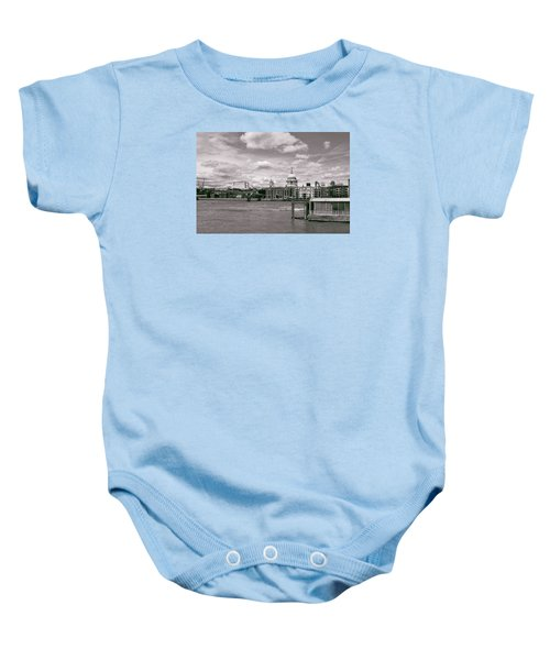 Saint Pauls Cathedral Along The Thames Baby Onesie by Nop Briex