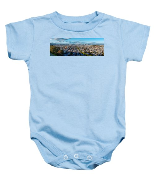 San Francisco Skyline From Bernal Heights Park At Sunset - San Francisco California Baby Onesie