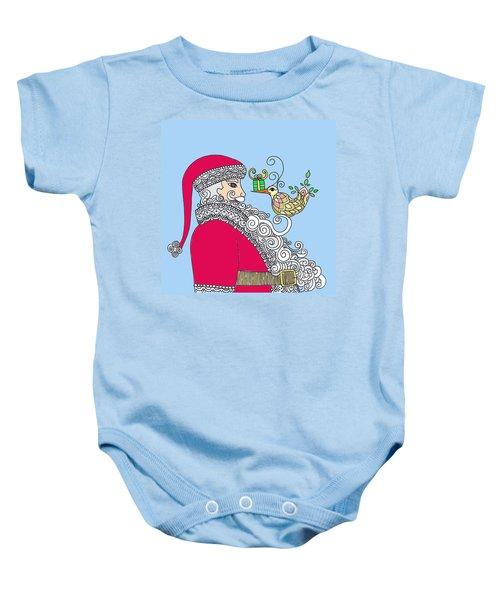 Santa And Bird On Blue Baby Onesie