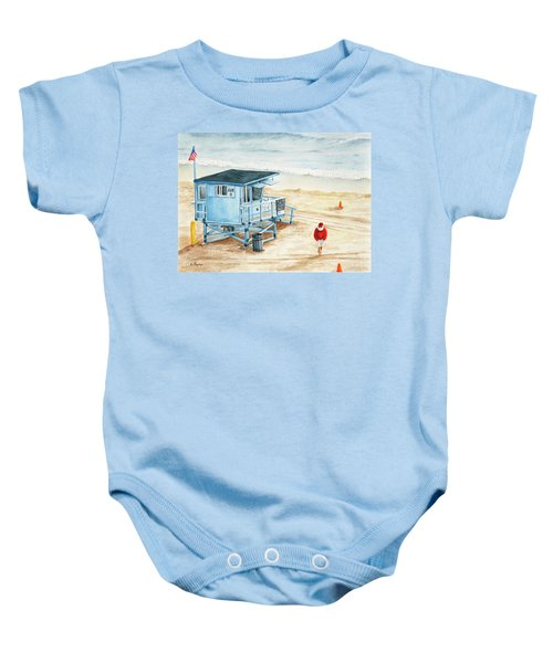 Santa Is On The Beach Baby Onesie