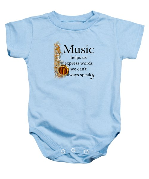 Saxophones Express Words Baby Onesie by M K  Miller