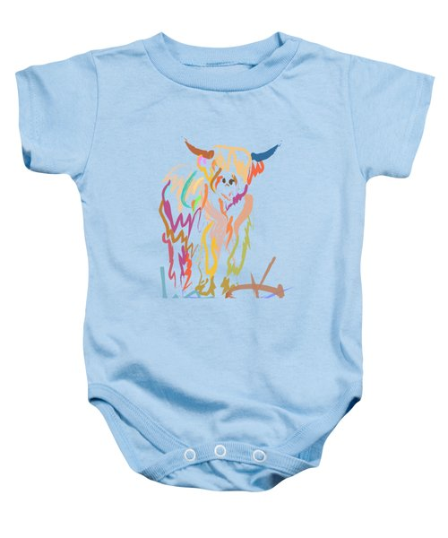 Baby Onesie featuring the painting Scottish Highland Cow by Go Van Kampen