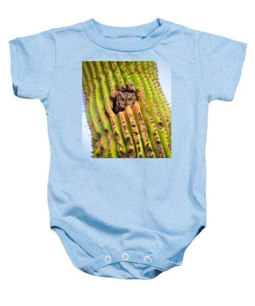 Screech Owl In Saguaro Baby Onesie