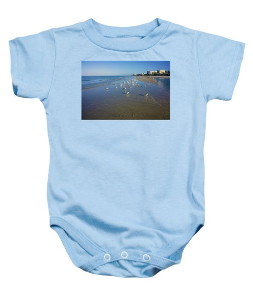Seagulls And Terns On The Beach In Naples, Fl Baby Onesie