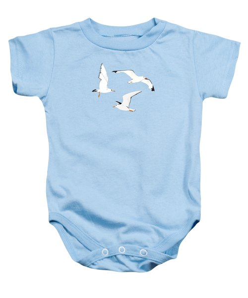 Seagulls Gathering At The Cricket Baby Onesie by Elizabeth Tuck