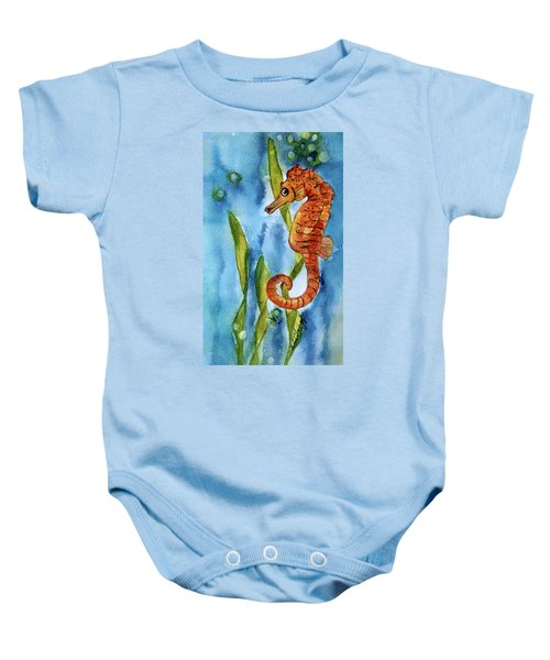 Seahorse With Sea Grass Baby Onesie