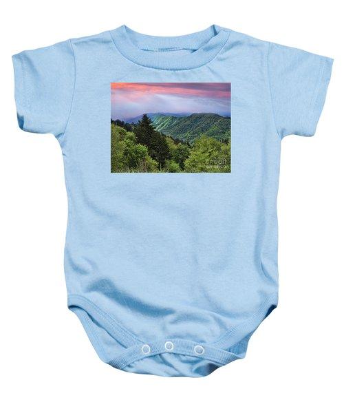 Setting Sun Over The Smokey Mountains Baby Onesie