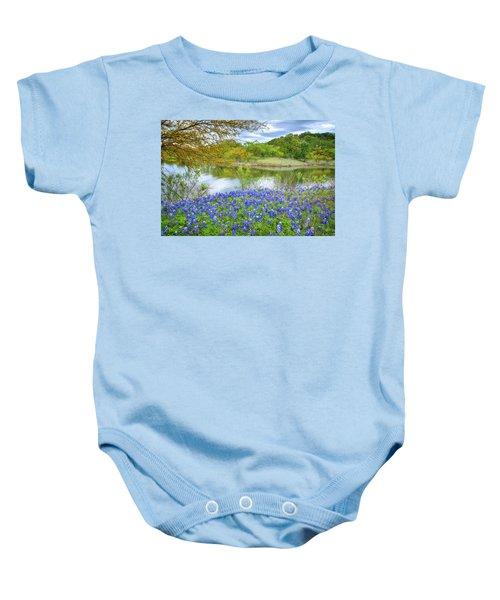 Shoreline Bluebonnets At Lake Travis Baby Onesie