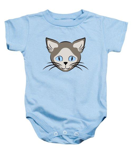 Siamese Cat Face With Blue Eyes Dark Baby Onesie
