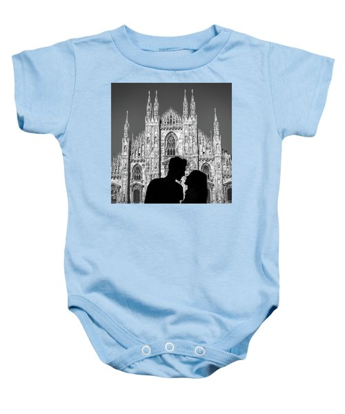 Silhouette Of Young Couple Kissing In Front Of Milan's Duomo Cathedral Baby Onesie
