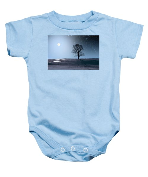 Single Tree In Moonlight Baby Onesie