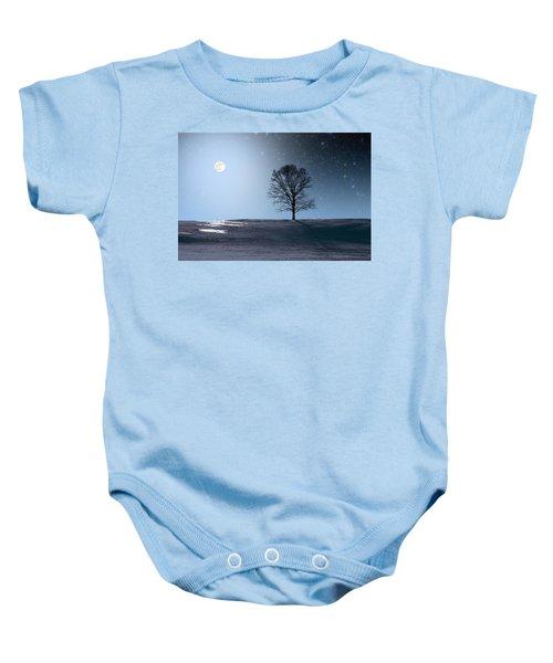 Single Tree In Moonlight Baby Onesie