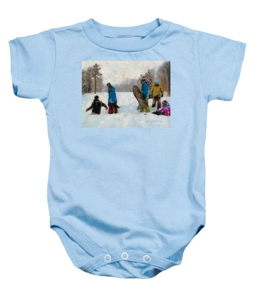 Six Sledders In The Snow Baby Onesie