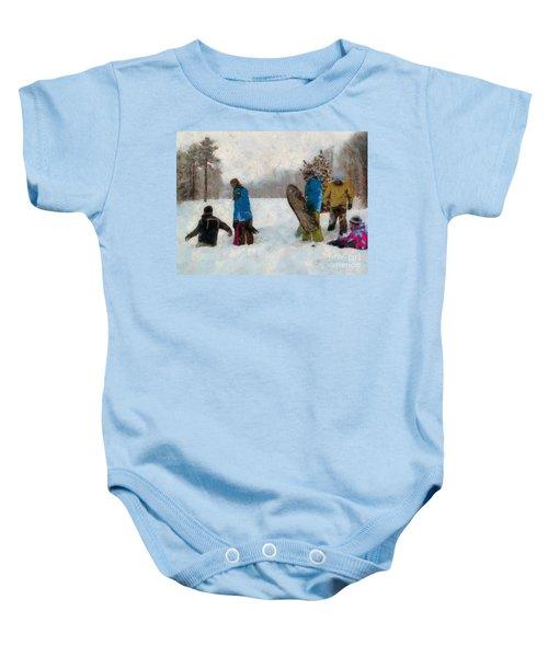 Six Sledders In The Snow Baby Onesie