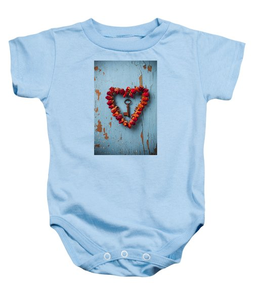 Small Rose Heart Wreath With Key Baby Onesie