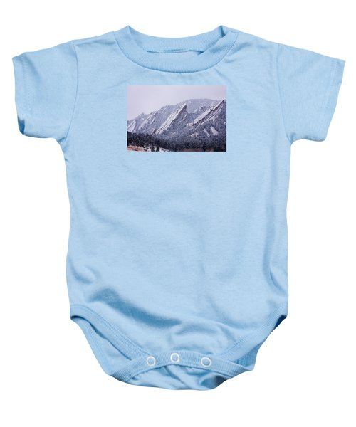 Snow Dusted Flatirons Boulder Colorado Baby Onesie