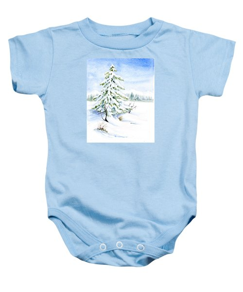 Snow On Evergreens Baby Onesie