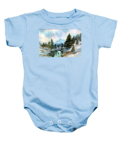 Snowy Lake Reflections Baby Onesie