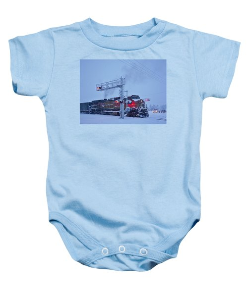 Snowy Train Crossing  Baby Onesie